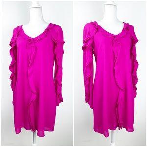 🆕 Belle Badgley Mischka Shift Ruffle Dress